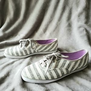 Keds Gray & White Striped Canvas Sneaker